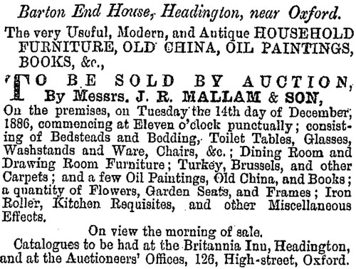 Sale at Barton End in 1886