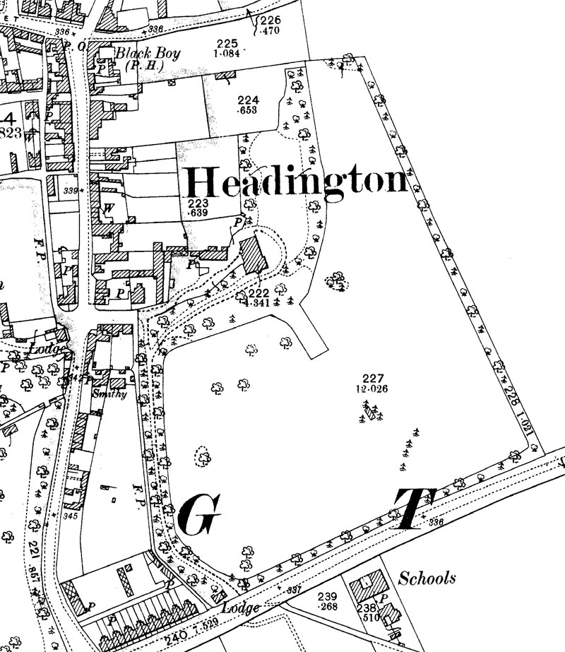 1899 map of Bury Knowle House