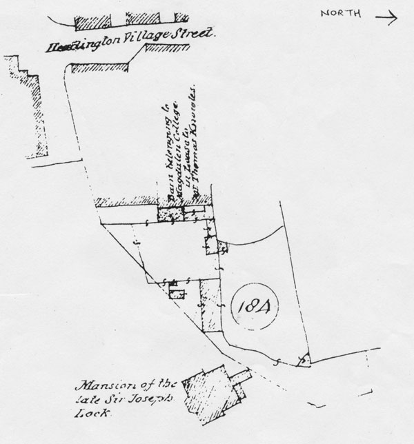1853 plan showing stables and barn