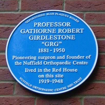 Blue plaque to Girdlestone