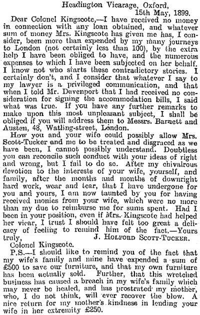 Letter to Colonel Kingscote May 1899
