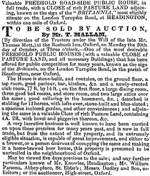 Britannia for sale in 1843
