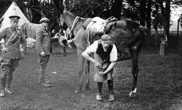 Tom Cleverly shoeing a horse