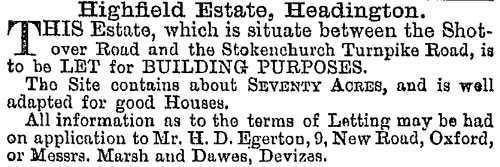Advertisement for land in Highfield