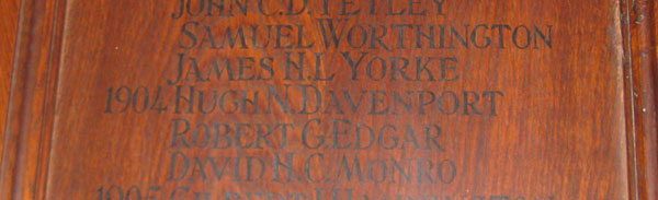 Hugh Davenport's name on Oriel College Roll of Honour