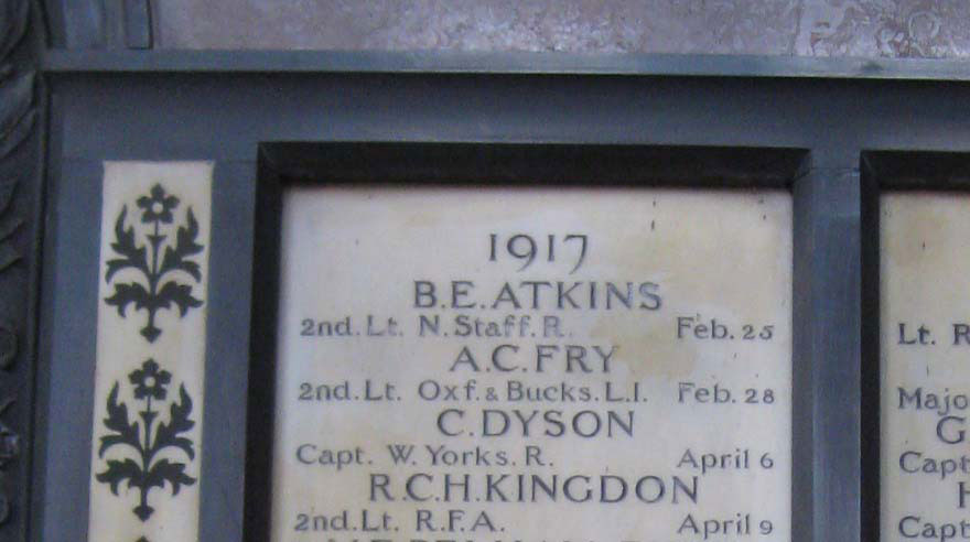 Memorial to Fry in Hertford College